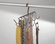 Load image into Gallery viewer, Amazon interdesign axis closet storage organizer rack for ties belts large bronze