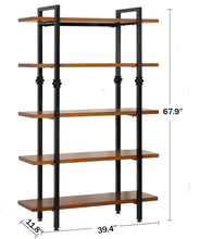Load image into Gallery viewer, Amazon sprawl 5 tier vintage bookshelf free standing multi purpose open wooden book storage shelves ladder shelf closet organizer