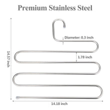 Load image into Gallery viewer, Top rated trusber stainless steel pants hangers s shape metal clothes racks with 5 layers for closet organization space saving for pants jeans trousers scarfs durable and no distortion silver pack of 4