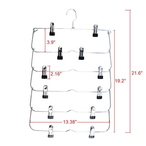 Best homend 6 tier skirt hangers foldable pants hangers closet organizer stainless steel fold up space saving hangers 5 pack