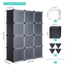 Load image into Gallery viewer, Get robolife 12 cubes organizer diy closet organizer shelving storage cabinet transparent door wardrobe for clothes shoes toys