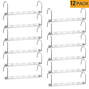 Discover the meetu space saving hangers wonder multifunctional clothes hangers stainless steel 6x2 slots magic hanger cascading hanger updated hook design closet organizer hanger pack of 12