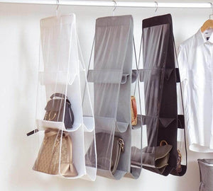 Buy now vercord 6 pocket hanging purse handbag tote storage holder organizer dust proof closet wardrobe hatstand space saver beige