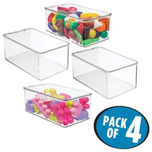 Load image into Gallery viewer, Try mdesign stackable closet plastic storage bin box with lid container for organizing childs kids toys action figures crayons markers building blocks puzzles crafts 5 high 4 pack clear
