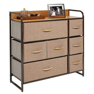 Shop mdesign wide dresser storage chest sturdy steel frame wood top easy pull fabric bins organizer unit for bedroom hallway entryway closet textured print 7 drawers coffee espresso brown