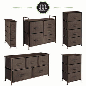 Organize with mdesign wide dresser storage tower sturdy steel frame wood top easy pull fabric bins organizer unit for bedroom hallway entryway closets textured print 5 drawers espresso brown