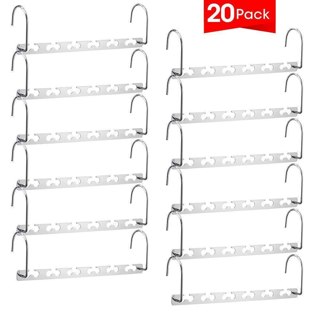 Selection meetu space saving hangers wonder multifunctional clothes hangers stainless steel 6x2 slots magic hanger cascading hanger updated hook design closet organizer hanger pack of 20