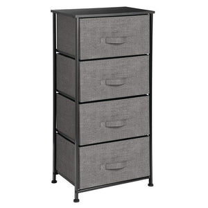 Exclusive mdesign vertical dresser storage tower sturdy steel frame wood top easy pull fabric bins organizer unit for bedroom hallway entryway closets textured print 4 drawers charcoal gray black