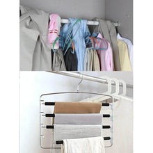 Load image into Gallery viewer, Best seller  doiown pants hangers slacks hangers space saving non slip stainless steel clothes hangers closet organizer for pants jeans trousers scarf 4 pack large size 17 1high x 15 9width