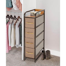 Load image into Gallery viewer, Kitchen mdesign vertical narrow dresser storage tower sturdy steel frame wood top handles easy pull fabric bins organizer unit for bedroom hallway entryway closets 4 drawers coffee espresso