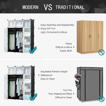 Load image into Gallery viewer, Shop for honey home modular plastic storage cube closet organizers portable diy wardrobes cabinet shelving with doors for bedroom office 16 cubes black white