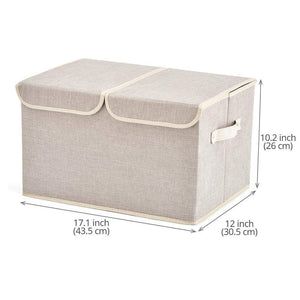 Featured large storage boxes 3 pack ezoware large linen fabric foldable storage cubes bin box containers with lid and handles for nursery closet kids room toys baby products silver gray