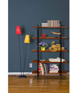 Budget friendly sprawl 5 tier vintage bookshelf free standing multi purpose open wooden book storage shelves ladder shelf closet organizer