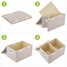Load image into Gallery viewer, Discover the best large storage boxes 3 pack ezoware large linen fabric foldable storage cubes bin box containers with lid and handles for nursery closet kids room toys baby products silver gray