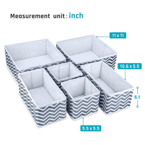 Order now storage bins ispecle foldable cloth storage cubes drawer organizer closet underwear box storage baskets containers drawer dividers for bras socks scarves cosmetics set of 6 grey chevron pattern