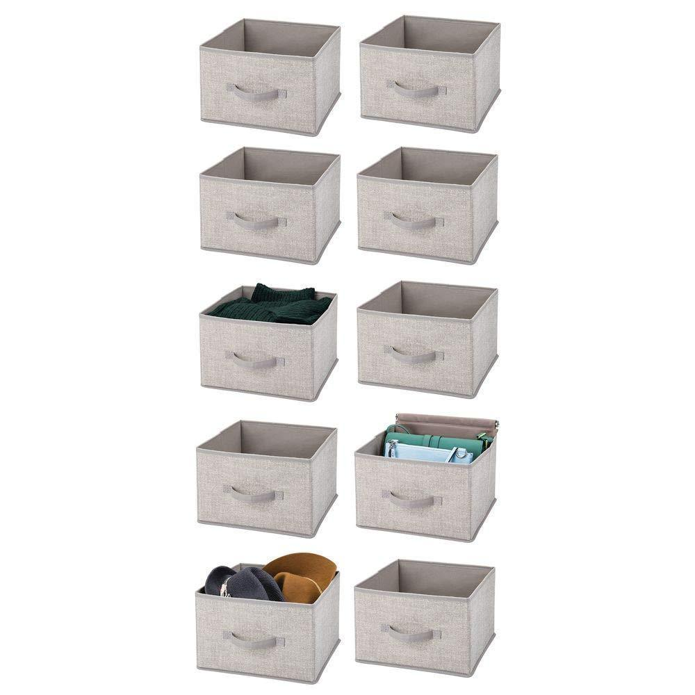 Exclusive mdesign soft fabric closet storage organizer holder cube bin box open top front handle for closet bedroom bathroom entryway office textured print 10 pack linen tan
