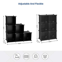 Load image into Gallery viewer, Get songmics cube storage organizer 6 cube closet storage shelves diy plastic closet cabinet modular bookcase storage shelving for bedroom living room office black with rubber hammer black ulpc06h