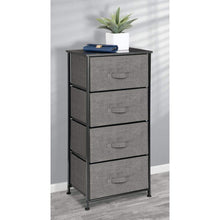 Load image into Gallery viewer, Discover the best mdesign vertical dresser storage tower sturdy steel frame wood top easy pull fabric bins organizer unit for bedroom hallway entryway closets textured print 4 drawers charcoal gray black