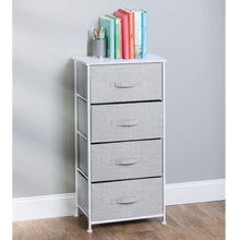 Load image into Gallery viewer, Budget friendly mdesign vertical furniture storage tower sturdy steel frame wood top easy pull fabric bins organizer unit for bedroom hallway entryway closets textured print 4 drawers gray white