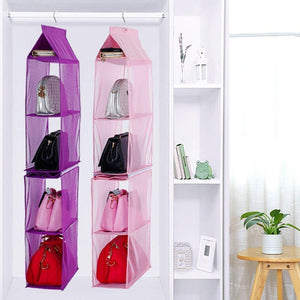 New detachable 6 compartment organizer pouch hanging handbag organizer clear purse bag collection storage holder wardrobe closet space saving organizers system for living room bedroom home use pink