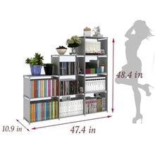 Load image into Gallery viewer, Explore clewiltess 9 cube diy storage bookcase bookshelf for kids home furniture storage shelves closet organizer rack cabinet for bedroom living room office grey