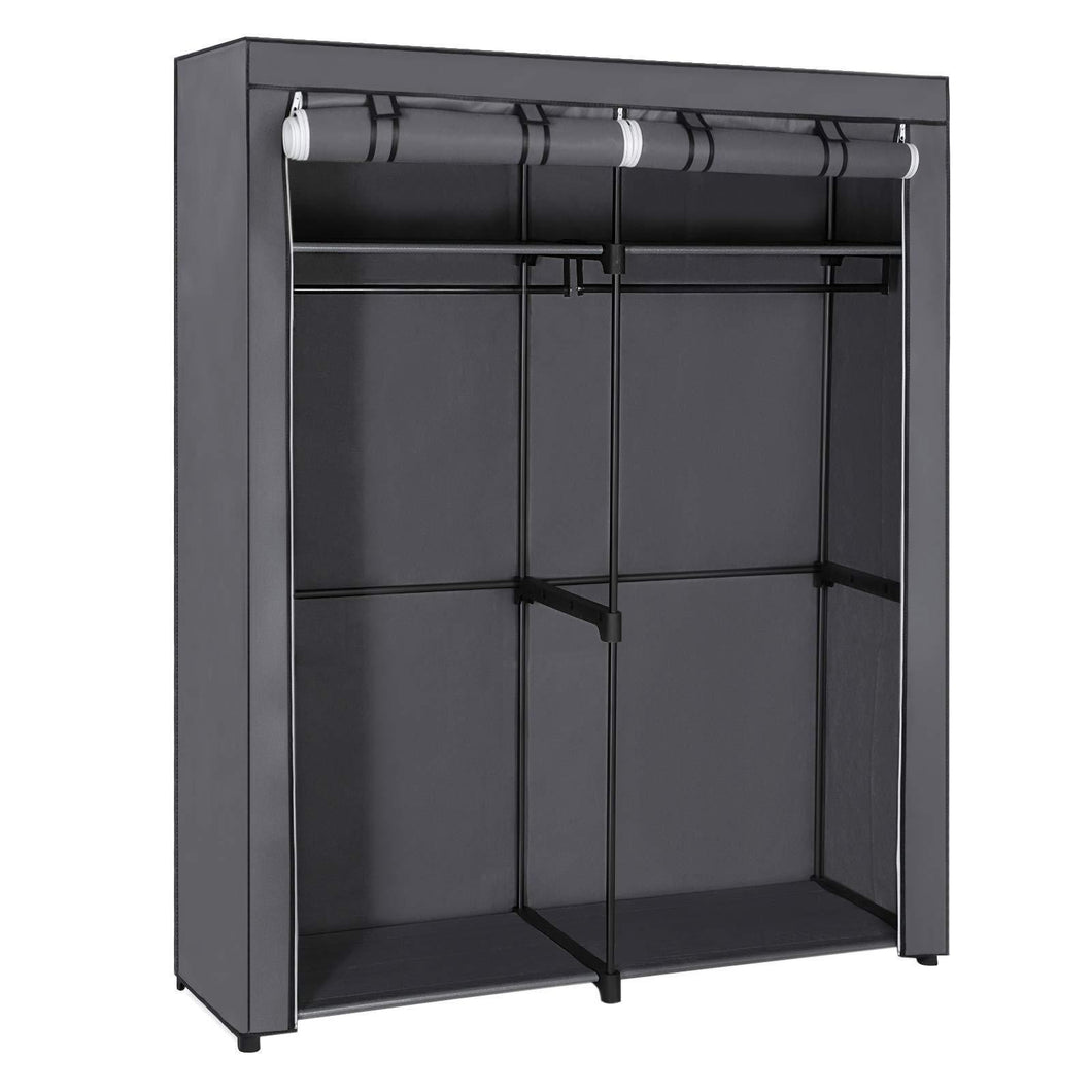 Organize with songmics closet storage organizer portable wardrobe with hanging rods clothes rack foldable cloakroom study stable 55 1 x 16 9 x 68 5 inches gray uryg02gy
