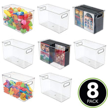 Load image into Gallery viewer, Results mdesign deep plastic home storage organizer bin for cube furniture shelving in office entryway closet cabinet bedroom laundry room nursery kids toy room 12 x 6 x 7 75 8 pack clear