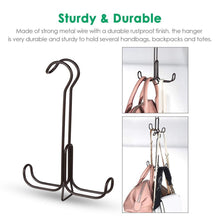 Load image into Gallery viewer, Storage organizer tomcare metal purse organizer stackable purse hanger handbag organizer sturdy bag organizer purse holder rack hanging closet organizer for purses handbags backpacks bags totes 6 pack bronze