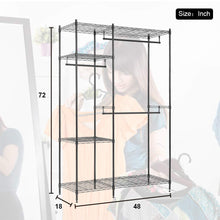 Load image into Gallery viewer, Best hanging closet organizer and storage heavy duty clothes rack sturdy 3 rod garment rack large with wire shelving height adjustable commercial grade metal clothes stand rack for bedroom cloakroom black