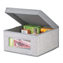 Load image into Gallery viewer, Storage mdesign soft stackable fabric closet storage organizer holder bin with clear window attached lid for home office den hallway entryway textured print medium 6 pack gray