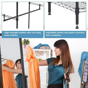 Budget friendly hanging closet organizer and storage heavy duty clothes rack sturdy 3 rod garment rack large with wire shelving height adjustable commercial grade metal clothes stand rack for bedroom cloakroom black