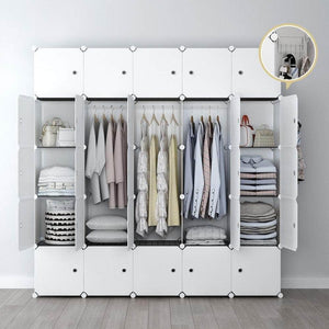 Top rated yozo modular closet portable wardrobe for teens kids chest drawer ployresin clothes storage organizer cube shelving unit multifunction toy cabinet bookshelf diy furniture white 25 cubes