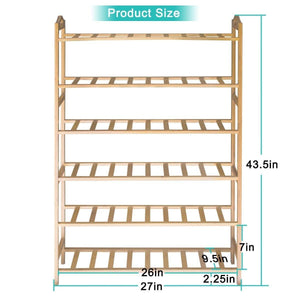 Top rated anko bamboo shoe rack natural bamboo thickened 6 tier mesh utility entryway shoe shelf storage organizer suitable for entryway closet living room bedroom 1 pack