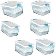Load image into Gallery viewer, Related 60 quart storage containers 6 pack closet lids space saver baskets box stacking bin portable organizer ebook