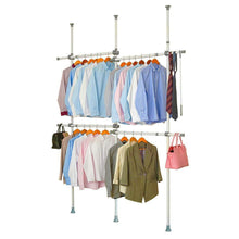 Load image into Gallery viewer, Best garment racks adjustable closet organizer with 440lb load heavy duty hang clothes rack for storage and display 55 x 97 expands to 102 x 119