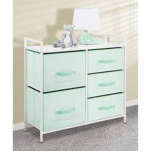 Load image into Gallery viewer, Organize with mdesign wide dresser storage tower furniture metal frame wood top easy pull fabric bins organizer for kids bedroom hallway entryway closet dorm chevron print 5 drawers mint green white