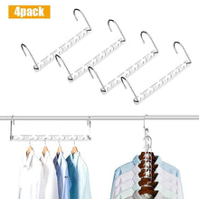 Load image into Gallery viewer, Shop here closet space saving hangers for clothes pants 10 5 inch metal wonder hangers stainless steel magic cascading hanger updated hook design closet organizer hanger