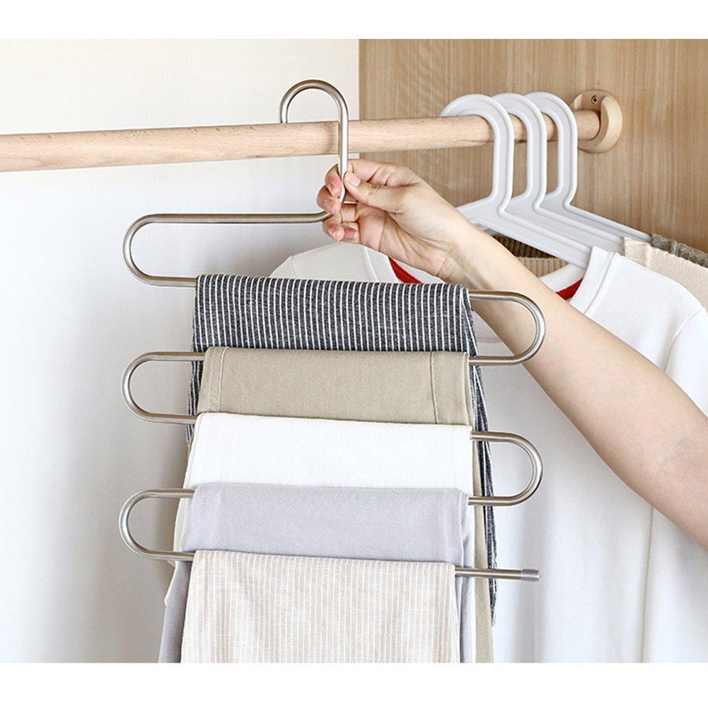 Results eityilla s type clothes pants hangers stainless steel space saving hangers 5 layers closet storage organizer for jeans trousers tie belt scarf 6 pieces