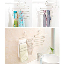 Load image into Gallery viewer, Organize with ycammin pants hangers s type stainless steel trousers rack 5 layers multi purpose closet hangers saver storage rack for clothes towel scarf trousers tie etc2 pcs