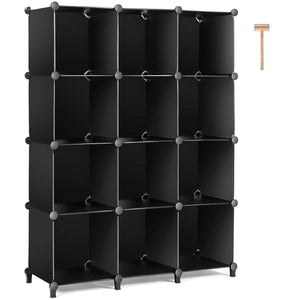 Budget friendly tomcare cube storage 12 cube bookshelf closet organizer storage shelves shelf cubes organizer plastic book shelf bookcase diy square closet cabinet shelves for bedroom office living room black