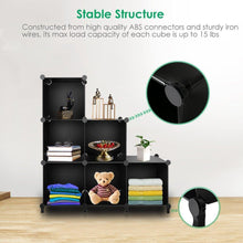 Load image into Gallery viewer, Products cube storage 6 cube bookshelf closet organizer storage shelves cubes organizer plastic bookcase for bedroom living room office black