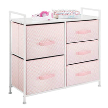 Load image into Gallery viewer, Amazon best mdesign wide dresser storage tower furniture metal frame wood top easy pull fabric bins organizer for kids bedroom hallway entryway closets dorm chevron print 5 drawers pink white