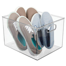 Load image into Gallery viewer, Home mdesign plastic home storage basket bin with handles for organizing closets shelves and cabinets in bedrooms bathrooms entryways and hallways store sweaters purses 8 high 8 pack clear