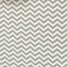 Load image into Gallery viewer, Results mdesign soft fabric over closet shelving hanging storage organizer with removable drawer for closets in bedrooms hallway entryway mudroom chevron zig zag print with solid trim taupe natural