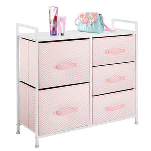Amazon mdesign wide dresser storage tower furniture metal frame wood top easy pull fabric bins organizer for kids bedroom hallway entryway closets dorm chevron print 5 drawers pink white