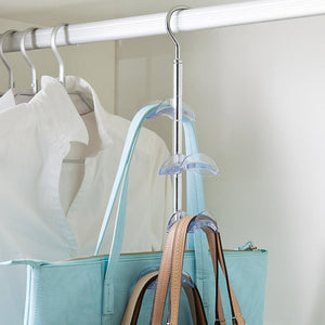 Home louise maelys 3 packs hanger rack 4 hooks closet organizer for handbags scarves ties belts 360 degree rotating