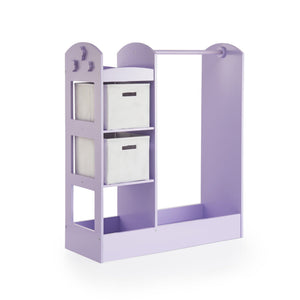 Best guidecraft see and store dress up center lavender pretend play storage closet with mirror shelves armoire for kids with bottom tray costume storage dresser