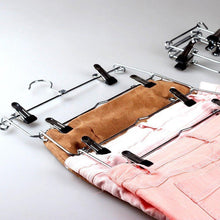 Load image into Gallery viewer, Top 6 tier skirt hangers star fly space saving pants hangers sturdy multi purpose stainless steel pants jeans slack skirt hangers with clips non slip closet storage organizer 3pcs 1