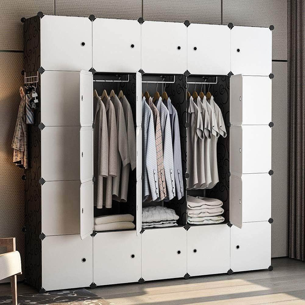 Get yozo modular wardrobe portable clothes closet garment rack polyresin storage organizer bedroom armoire cubby shelving unit dresser multifunction cabinet diy furniture black 25 cubes