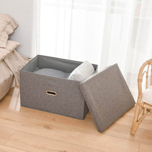 Select nice polecasa storage bins with lid 2 pack removable lid collapsible stackable linen fabric storage cubes boxes containers organizer basket for home office bedroom closet and shelveslarge 38l